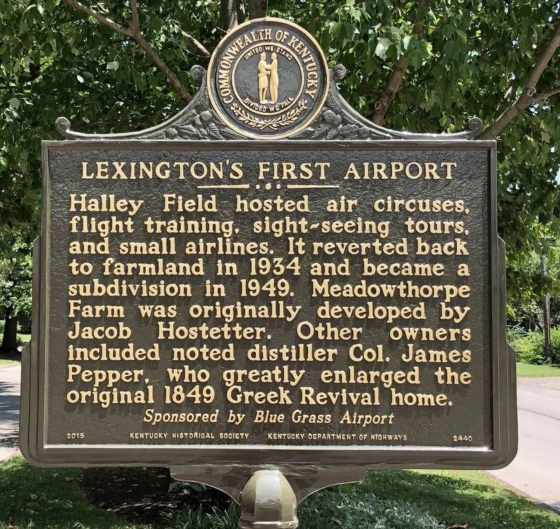 Lexington's First Airport Marker (reverse) image. Click for full size.