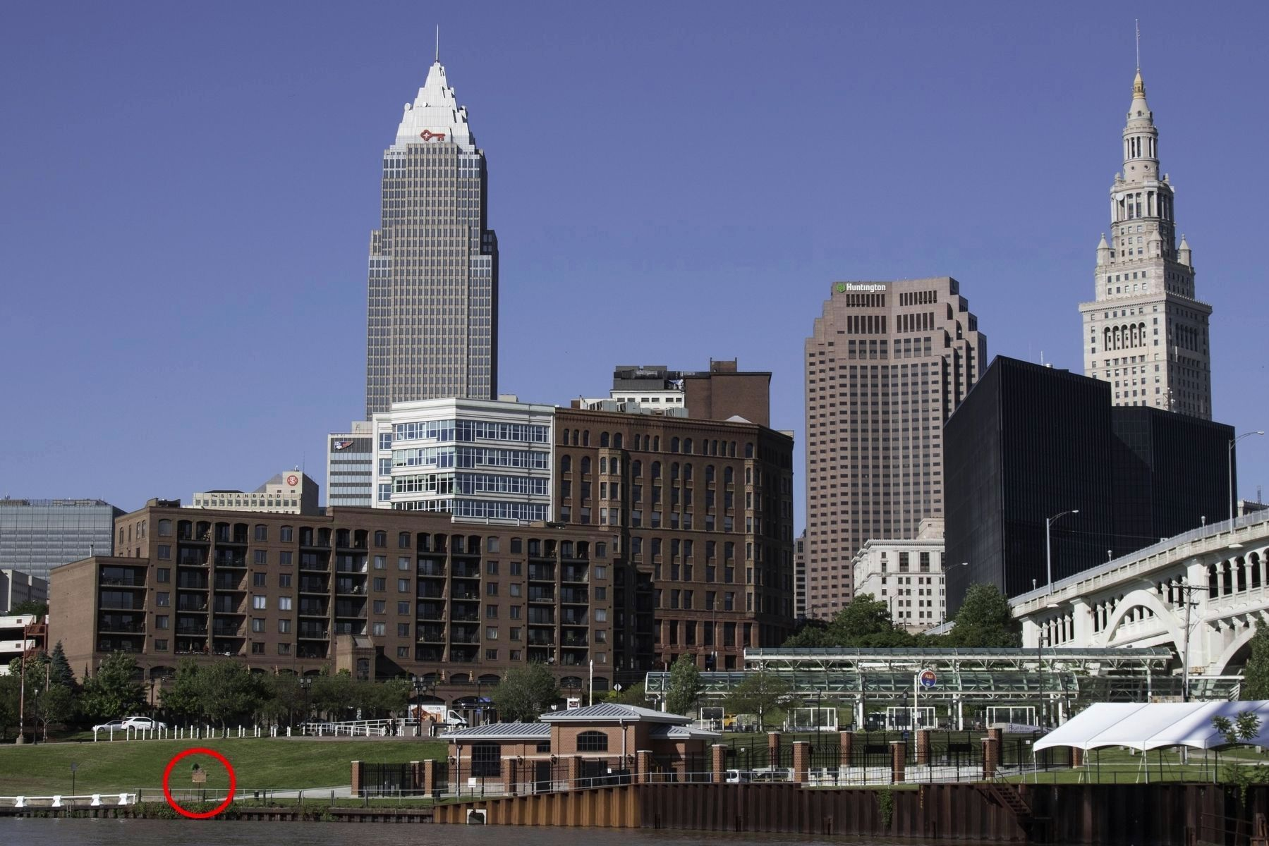 Downtown Cleveland Skyline and the Marker image. Click for full size.