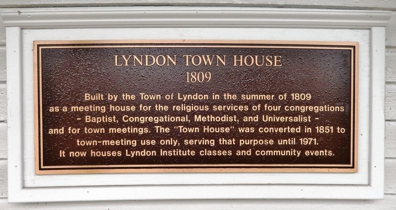 Lyndon Town House Marker image. Click for full size.