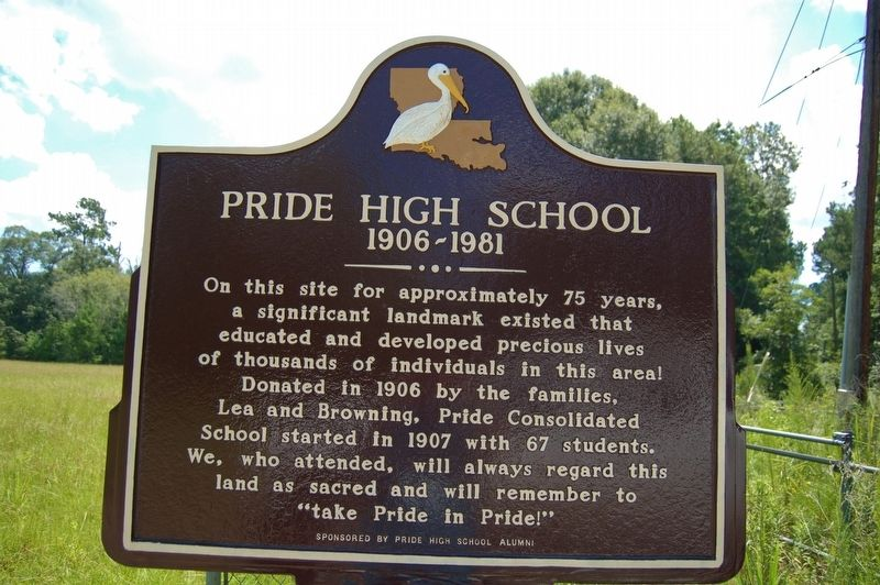 Pride High School Marker image. Click for full size.