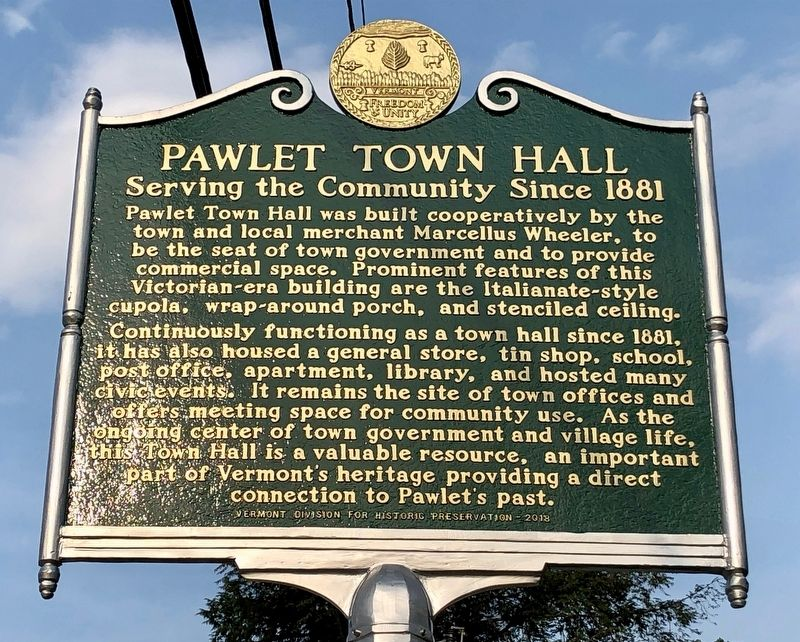 Pawlet Town Hall Marker image. Click for full size.