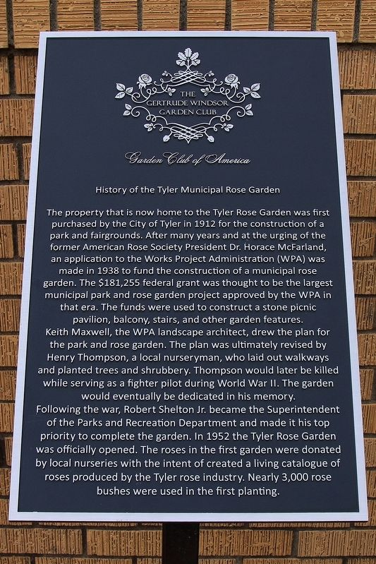 History of the Tyler Municipal Rose Garden Marker image. Click for full size.