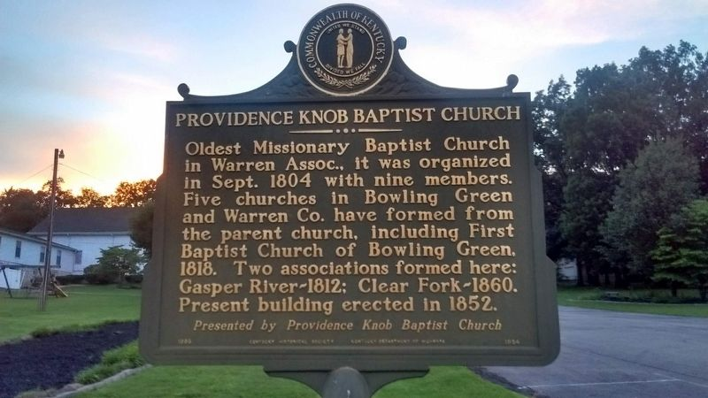 Providence Knob Baptist Church Marker image. Click for full size.