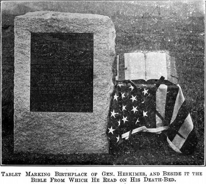 Tablet Marking the Birthplace of Gen. Herkimer, image. Click for full size.
