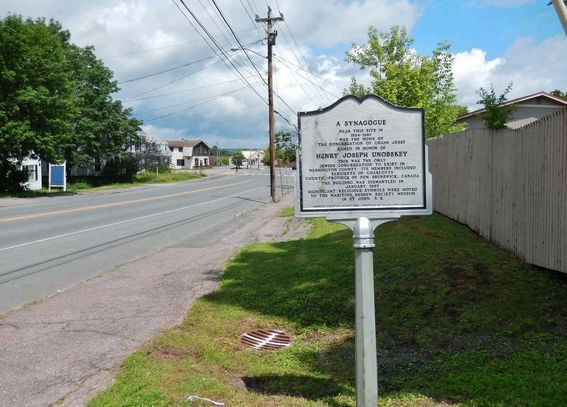 Congregation Chaim Josef Marker • south side<br>(<i>wide view • looking north along Main Street</i>) image. Click for full size.