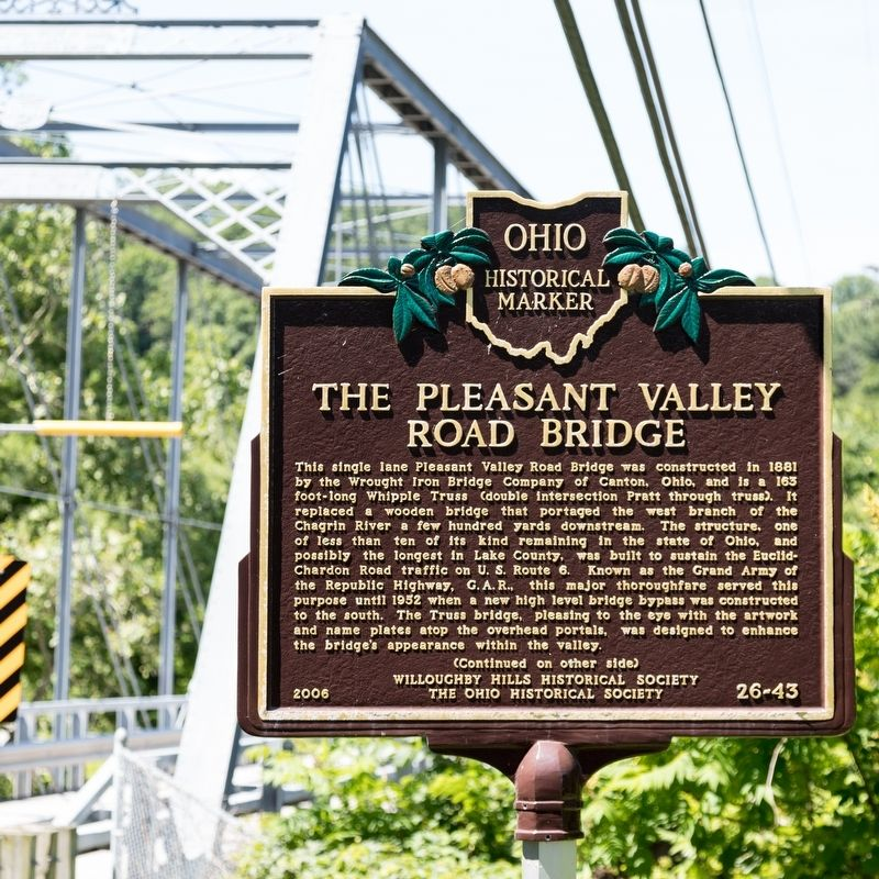The Pleasant Valley Road Bridge Marker, side one image. Click for full size.
