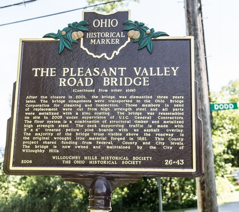 The Pleasant Valley Road Bridge Marker, side two image. Click for full size.