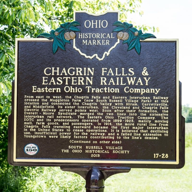 Chagrin Falls & Eastern Railway Marker, side one image. Click for full size.