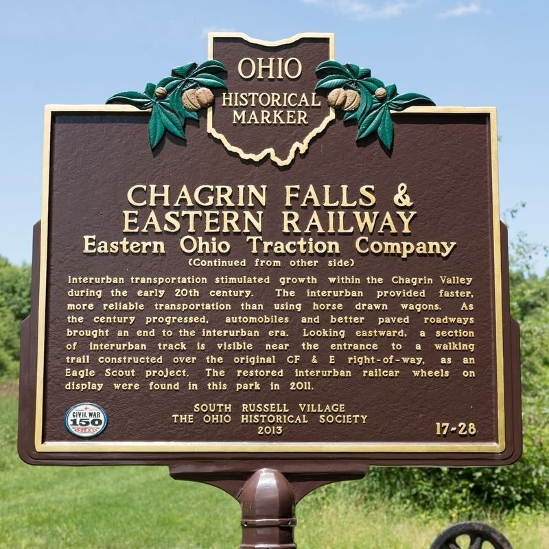 Chagrin Falls & Eastern Railway Marker, side two image. Click for full size.