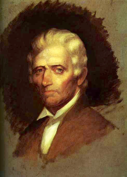 Unfinished oil sketch of Daniel Boone.