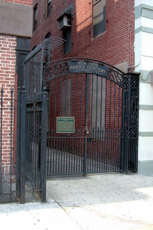 New York Marble Cemetery entrance image. Click for full size.