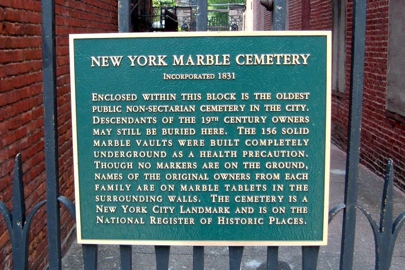 New York Marble Cemetery Marker at the entrance image. Click for full size.