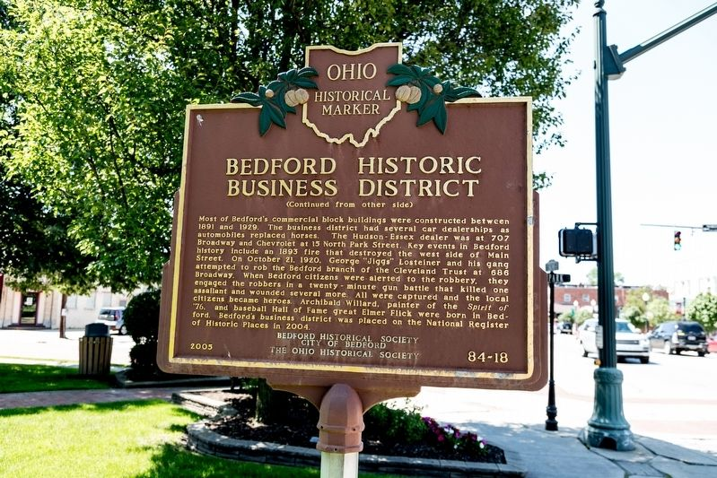 Bedford Historic Business District Marker, side two image. Click for full size.