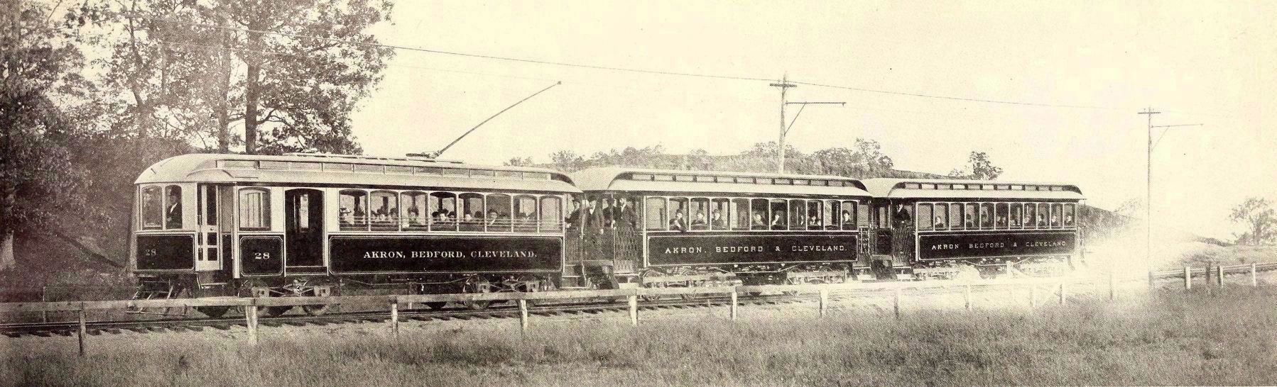 """Akron, Bedford and Cleveland—Motor Car with Trailers Operated in 1895."" image. Click for full size."