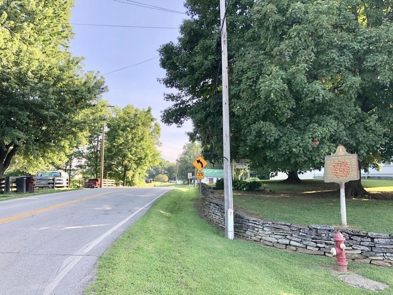 The view north on KY-36 with Moorefield United Methodist Church on right. image. Click for full size.