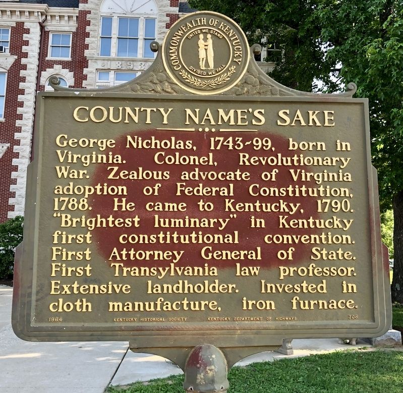 County Namesake Marker image. Click for full size.