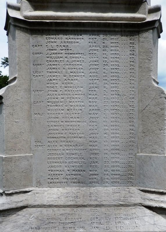 Mexican-American War Monument<br>(<i>west name panel</i>) image. Click for full size.