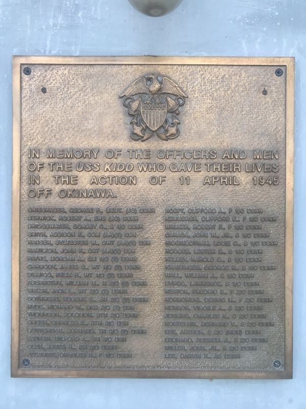 USS Kidd KIA Memorial image. Click for full size.