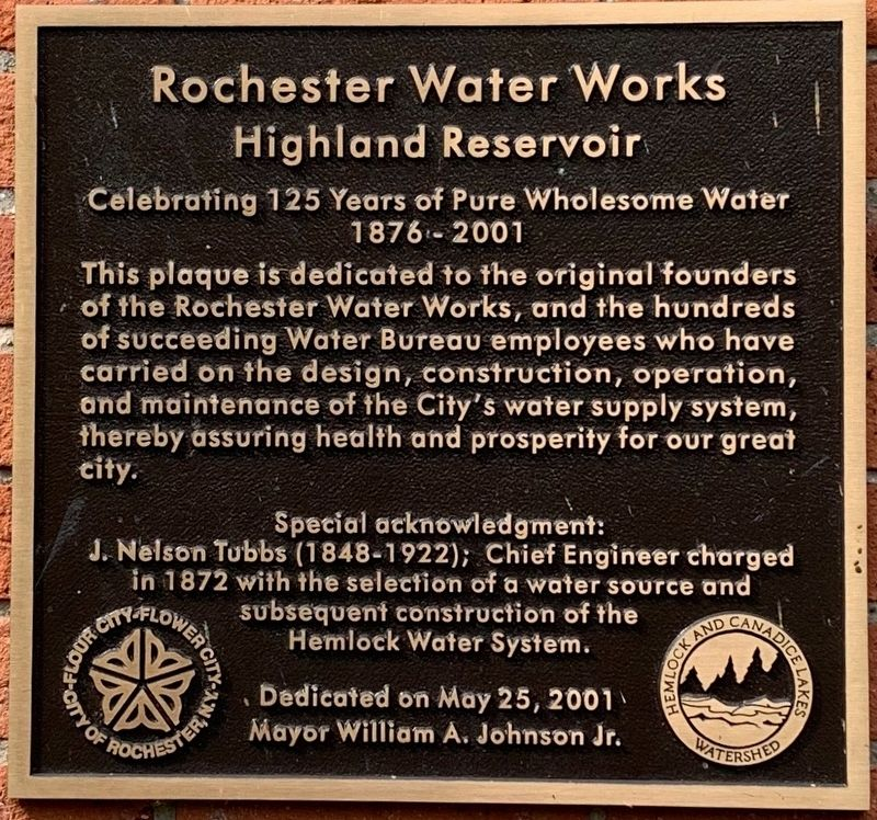 Rochester Water Works Marker image. Click for full size.