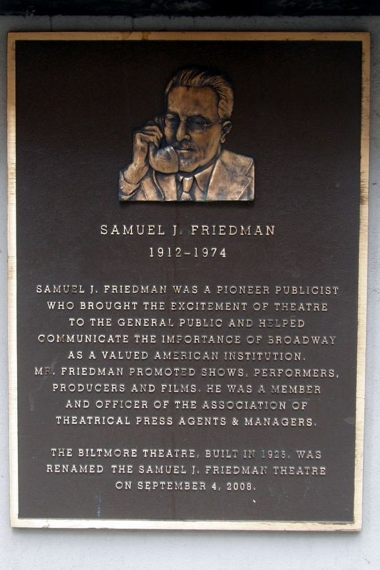 Samuel J. Friedman Marker image. Click for full size.