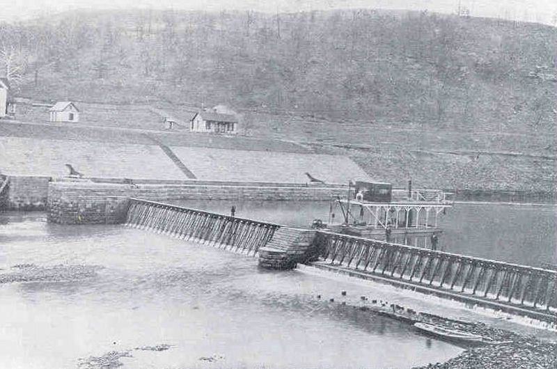 View of the needle dam and lock as originally built in 1896 at Louisa. image. Click for full size.