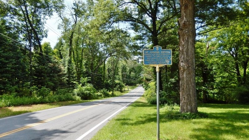 Mt. Johnson School Marker<br>(<i>wide view looking north along Goshen Turnpike</i>) image. Click for full size.