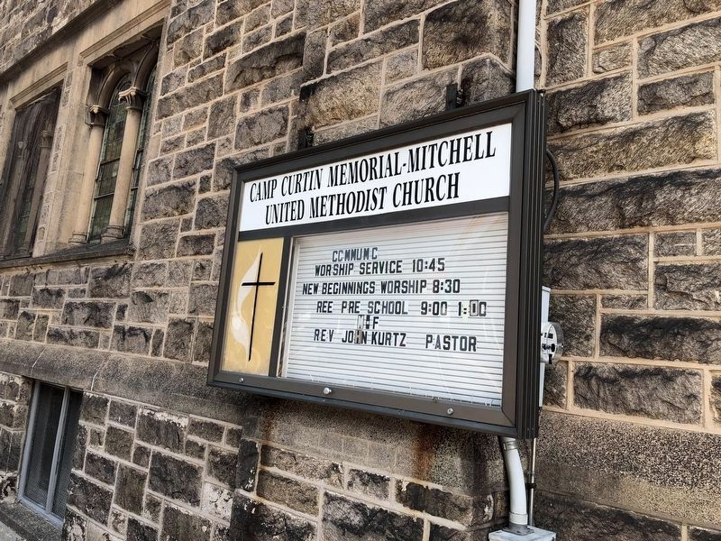 Sign on the church building image. Click for full size.