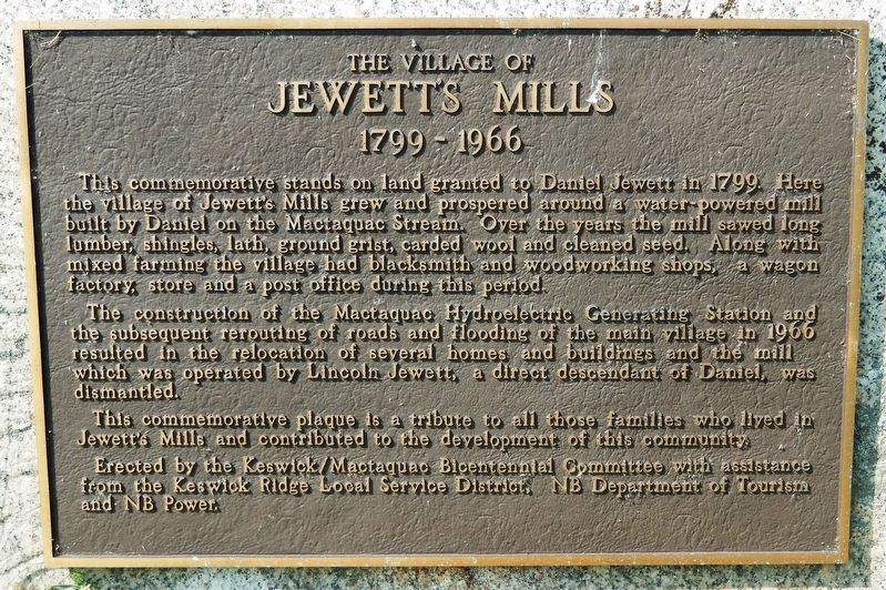 The Village of Jewett's Mills Marker image. Click for full size.