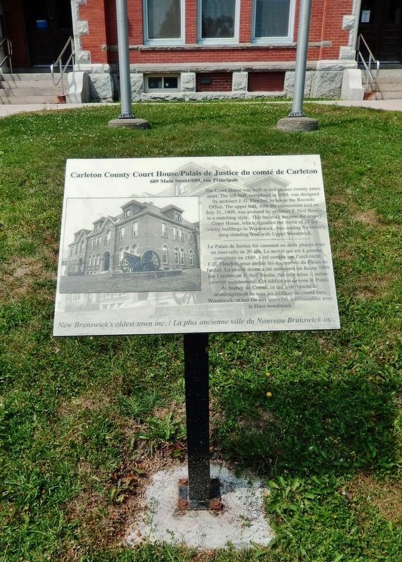 Carleton County Court House Marker<br>(<i>tall view</i>) image. Click for full size.