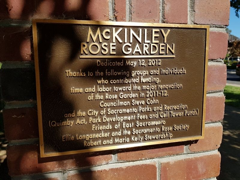 McKinley Rose Garden 2012 renovation plaque image. Click for full size.