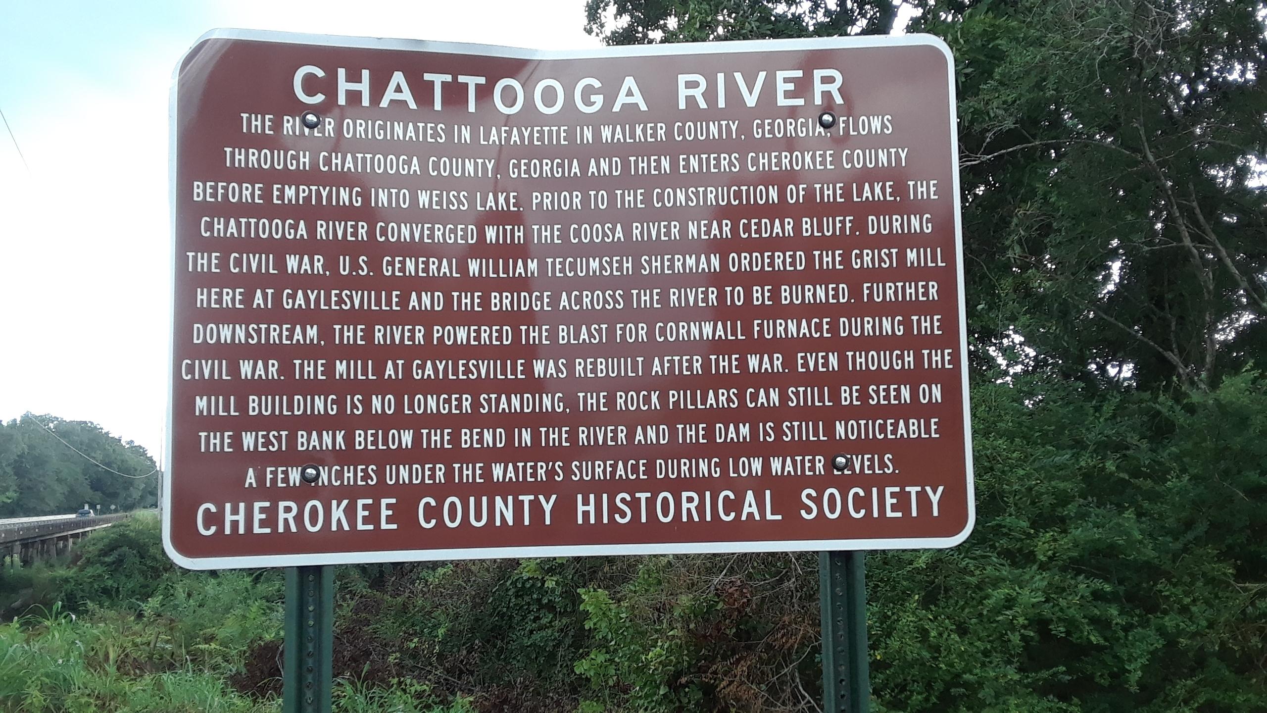 Chattooga River Marker