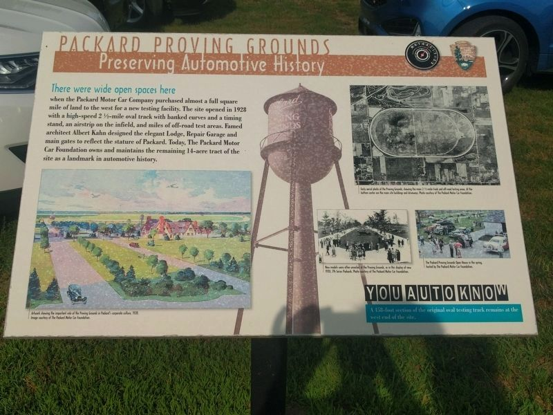 Packard Proving Grounds: Preserving Automotive History Marker image. Click for full size.