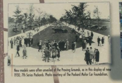 Packard Proving Grounds: Preserving Automotive History Marker - lower middle image image. Click for full size.