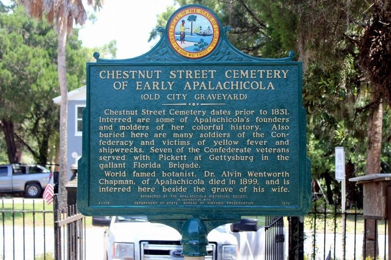 Chestnut Street Cemetery of Early Apalachicola Marker after restoration image. Click for full size.