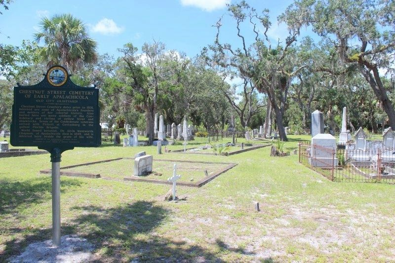Chestnut Street Cemetery of Early Apalachicola Marker from inside of entrance gate image. Click for full size.