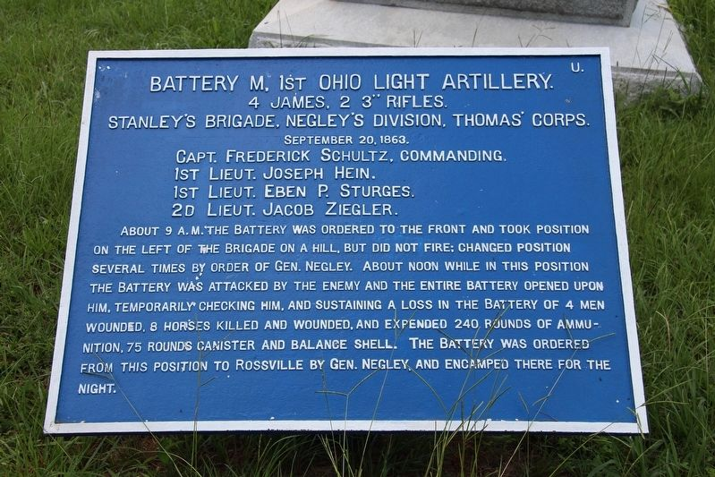 Battery M, 1st Ohio Light Artillery Marker image. Click for full size.