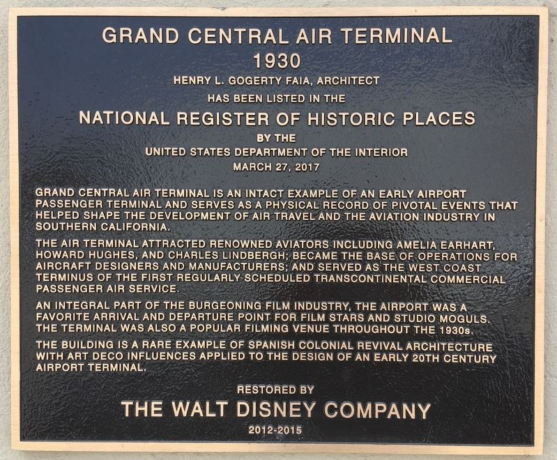 Grand Central Air Terminal Marker image. Click for full size.