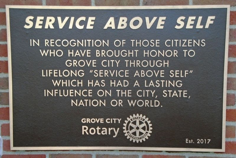 Grove City Rotary <i>Service Above Self</i> Markers image. Click for full size.