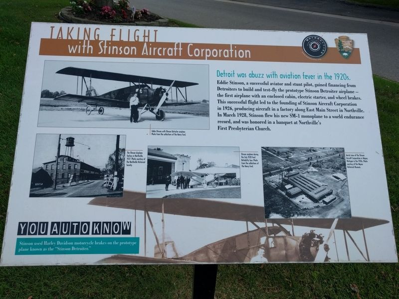 Taking Flight with Stinson Aircraft Corporation Marker image. Click for full size.