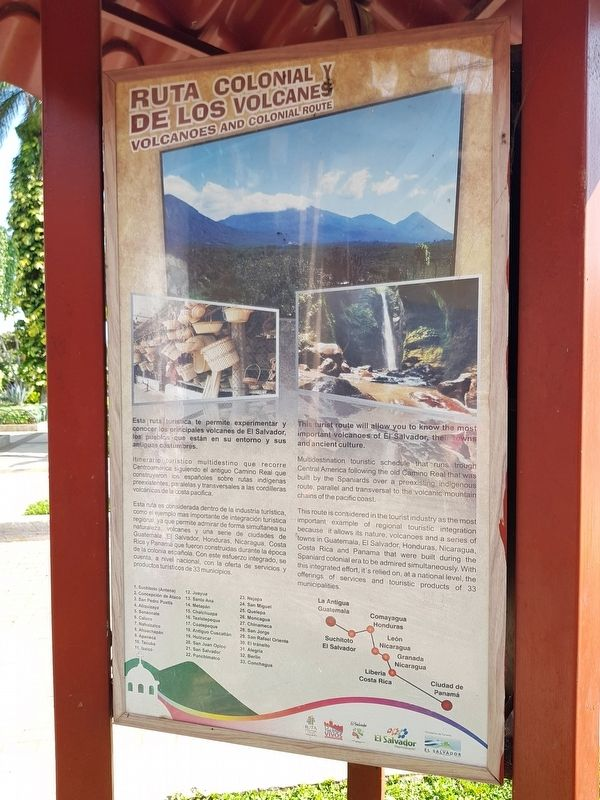 Nahuizalco Marker, Volcanos and Colonial Route panel image. Click for full size.