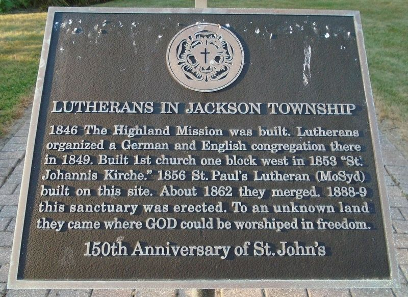 Lutherans in Jackson Township Marker image. Click for full size.