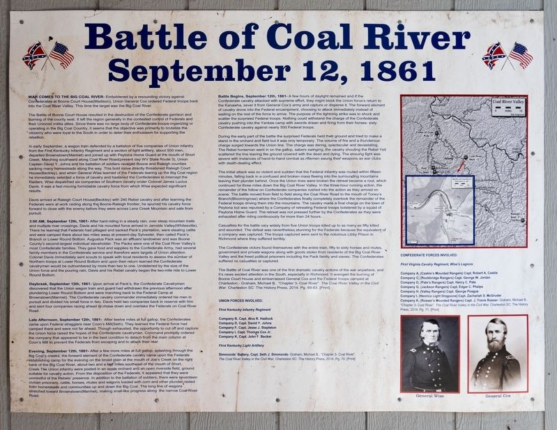 Battle of Coal River Marker image. Click for full size.