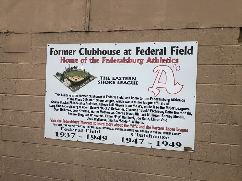 Former Clubhouse at Federal Field Marker image. Click for full size.