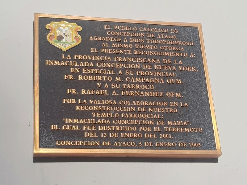 The Ataco Catholic Church and 2001 Earthquake Marker image. Click for full size.