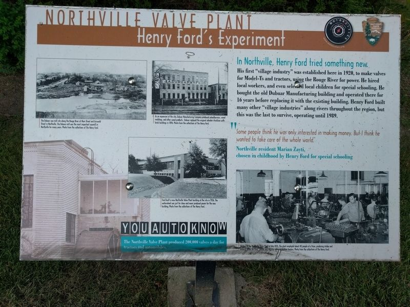 Northville Valve Plant: Henry Ford's Experiment Marker image. Click for full size.