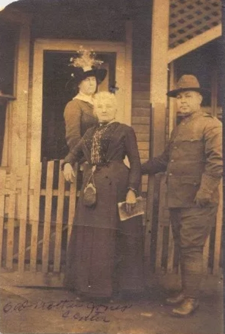 82-year-old Mother Jones outside her prison in Pratt WV during her court-martial trial