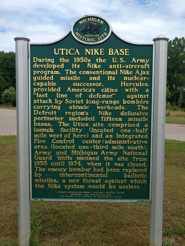 Spring Hill Farm / Utica Nike Base Marker image. Click for full size.