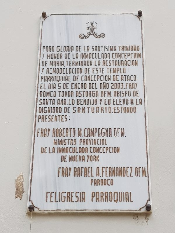 An additional Ataco Catholic Church 2003 restoration tablet image. Click for full size.