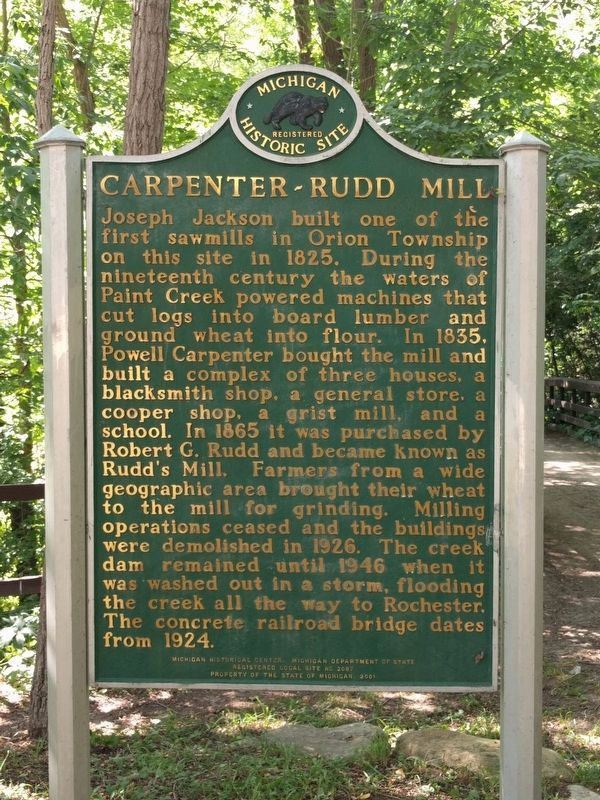 Carpenter-Rudd Mill Marker image. Click for full size.