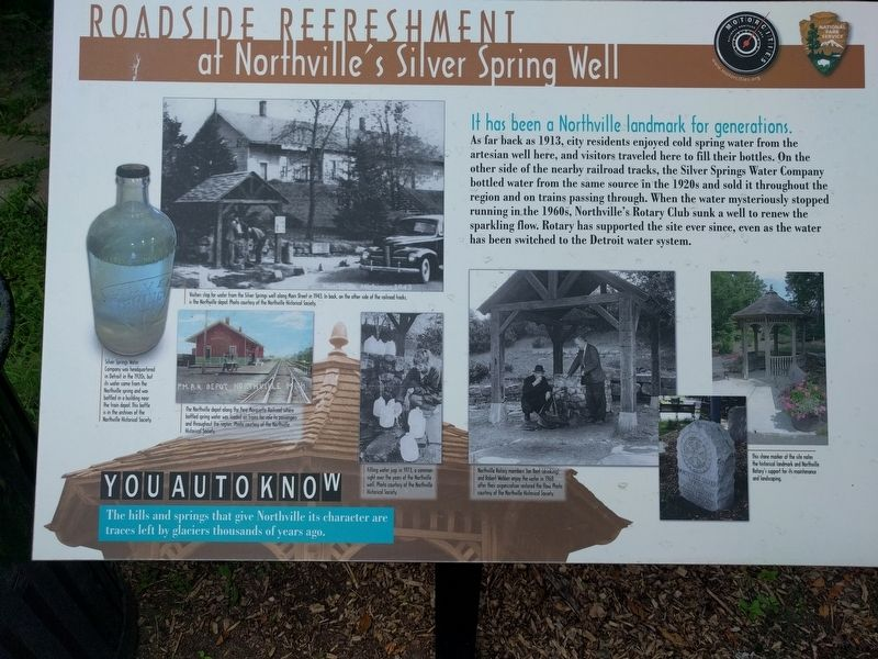 Roadside Refreshment: at Northville's Silver Spring Well Marker image. Click for full size.
